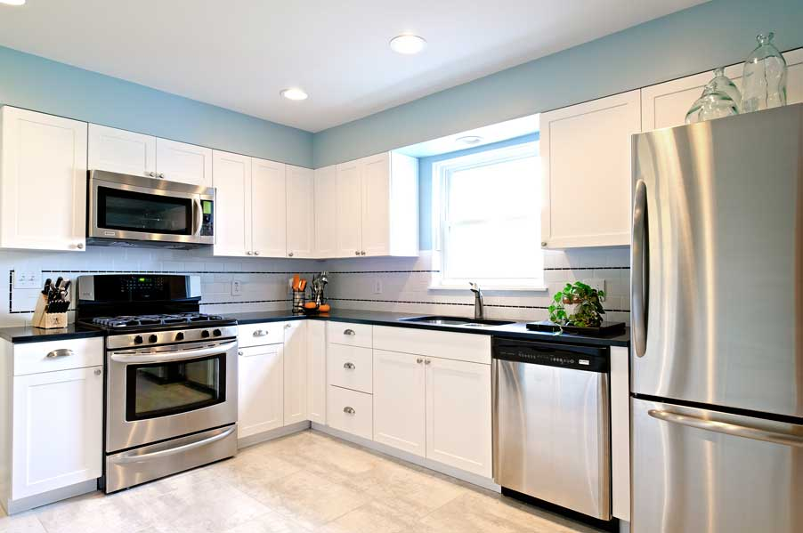 Kitchen White Cabinets Stainless Appliances Photo 3