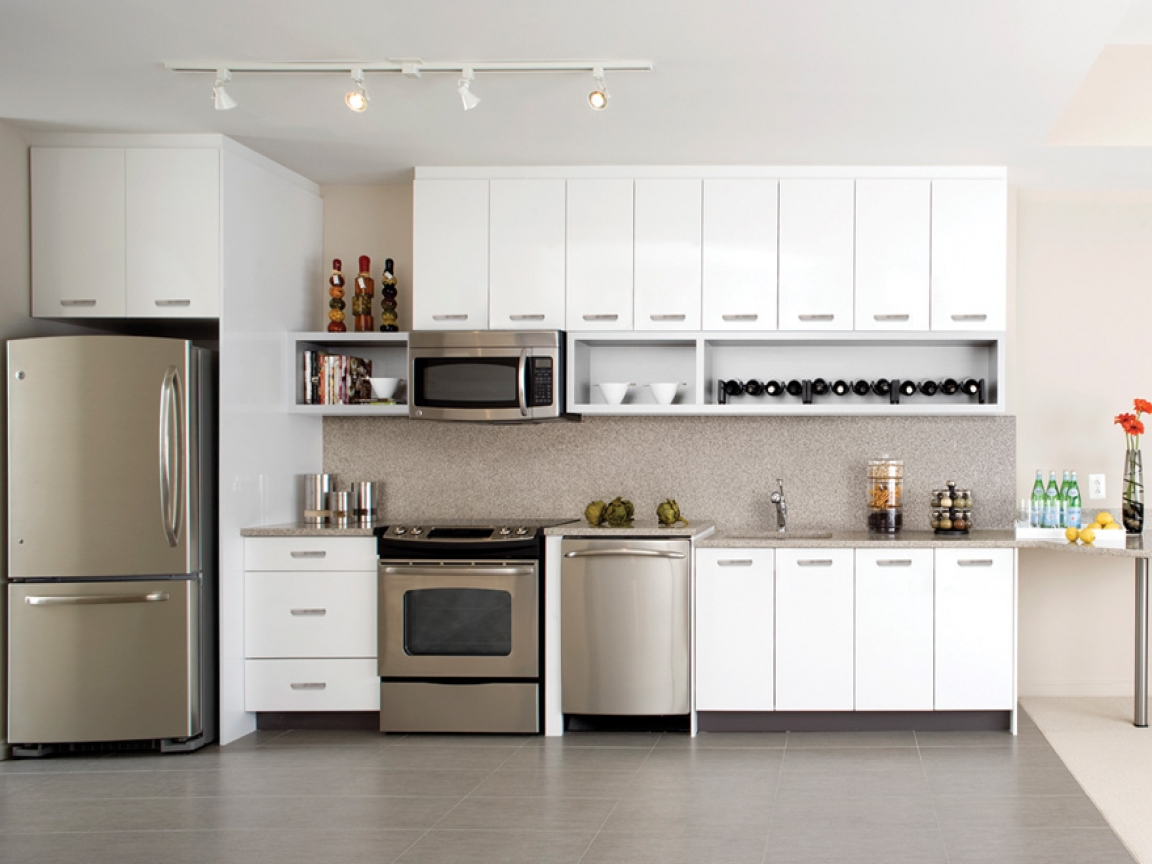 kitchen white cabinets stainless appliances photo - 6