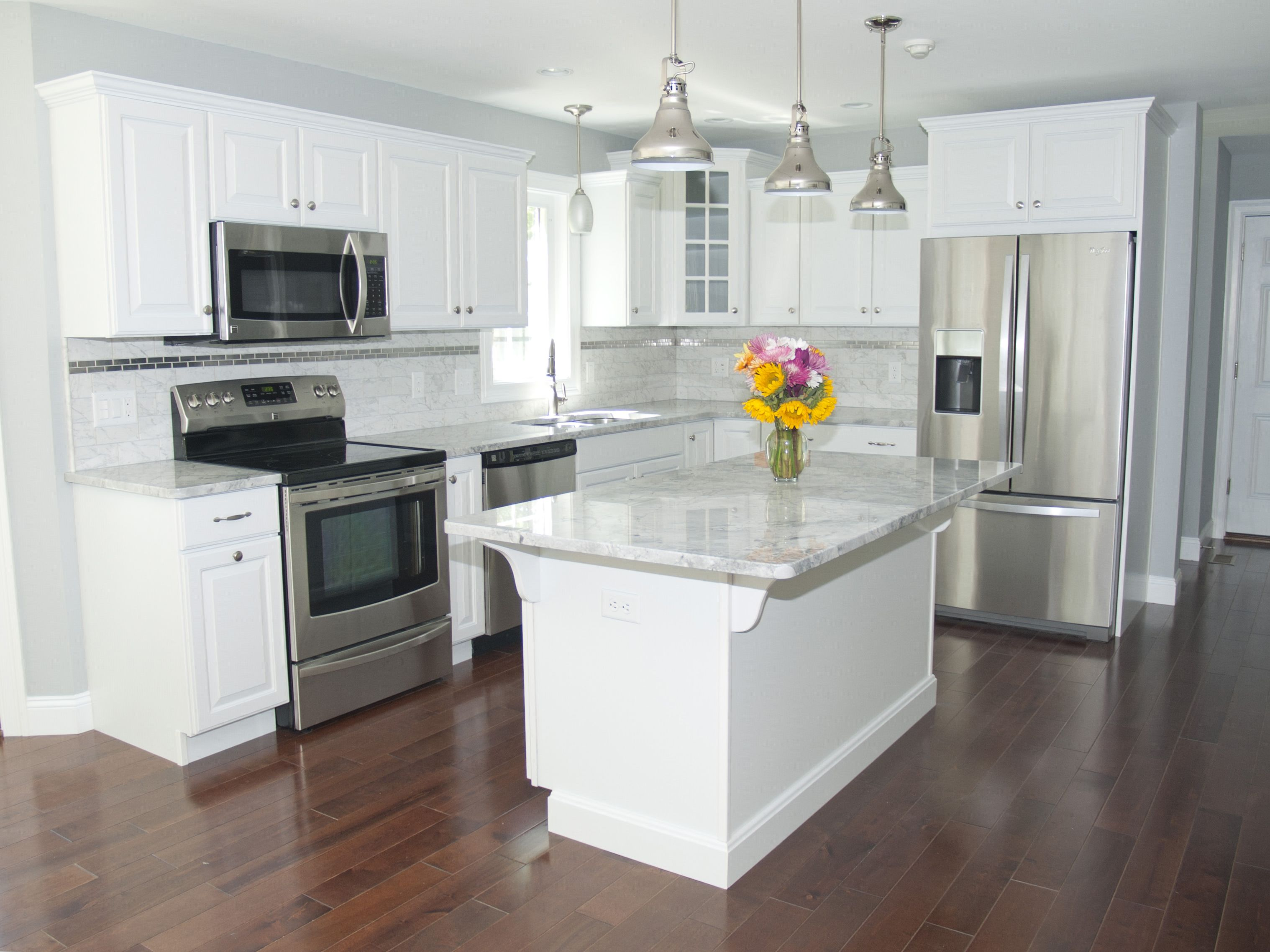 kitchen white cabinets stainless appliances photo - 7
