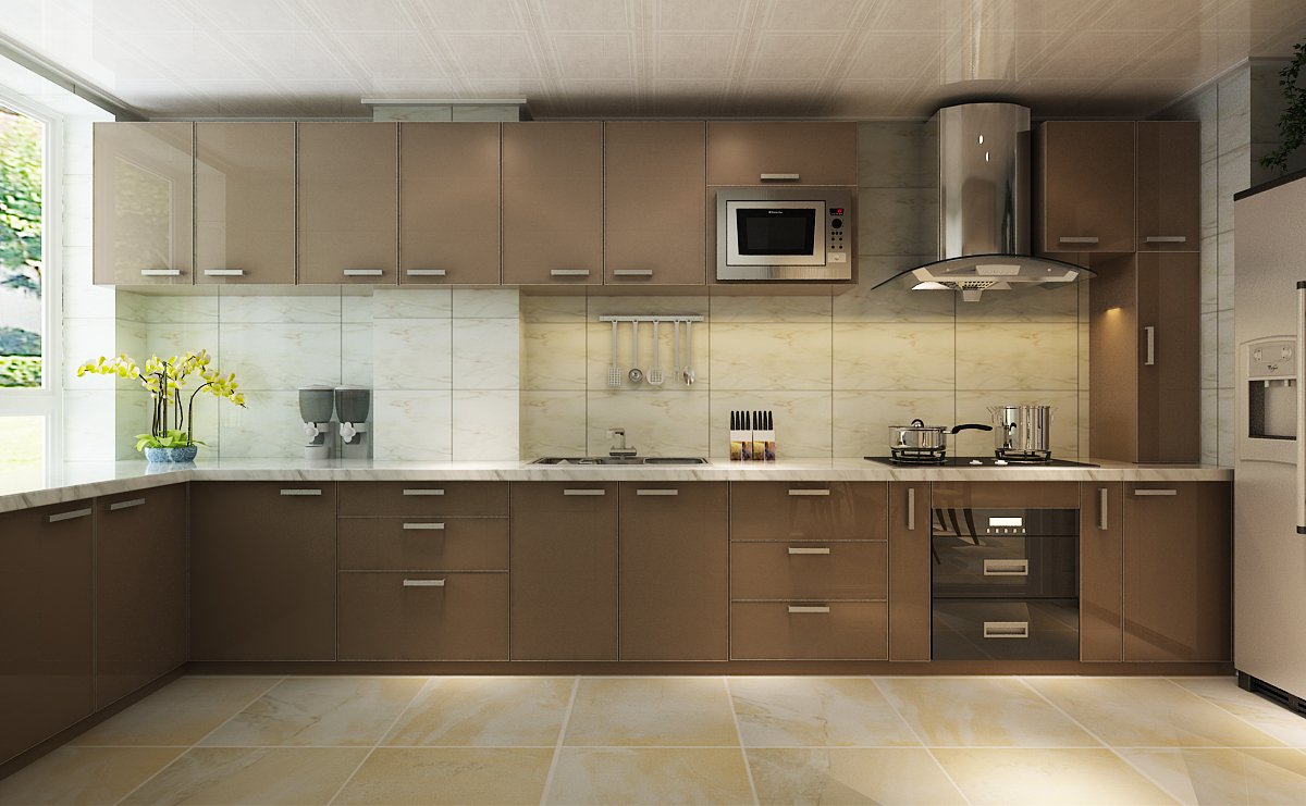 l shaped apartment kitchen photo - 7