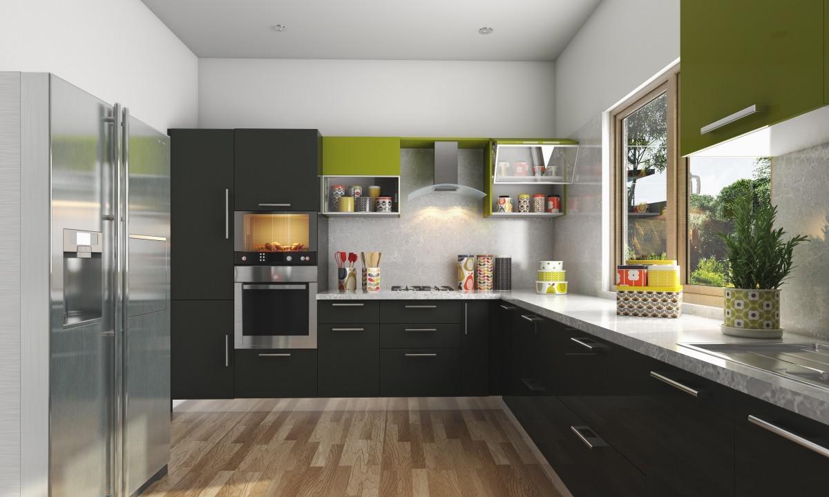 l shaped apartment kitchen photo - 9