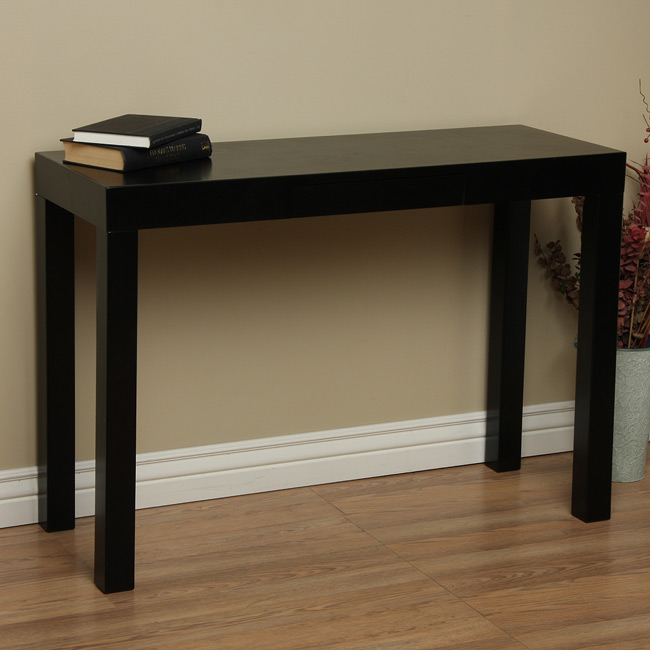 lachlan glossy black sofa table photo - 1