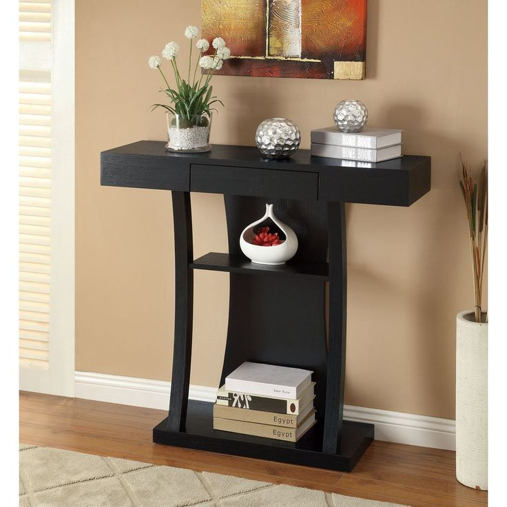 lachlan glossy black sofa table photo - 6