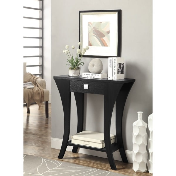 lachlan glossy black sofa table photo - 8