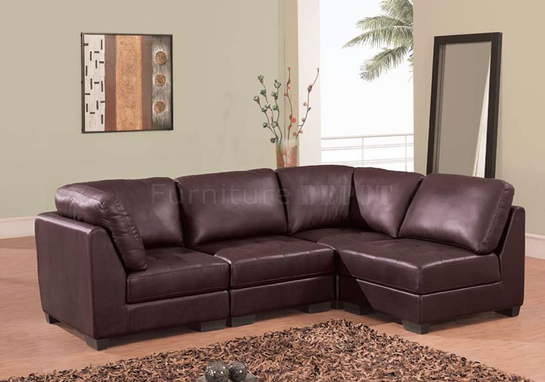 leather couch sectional brown photo - 1