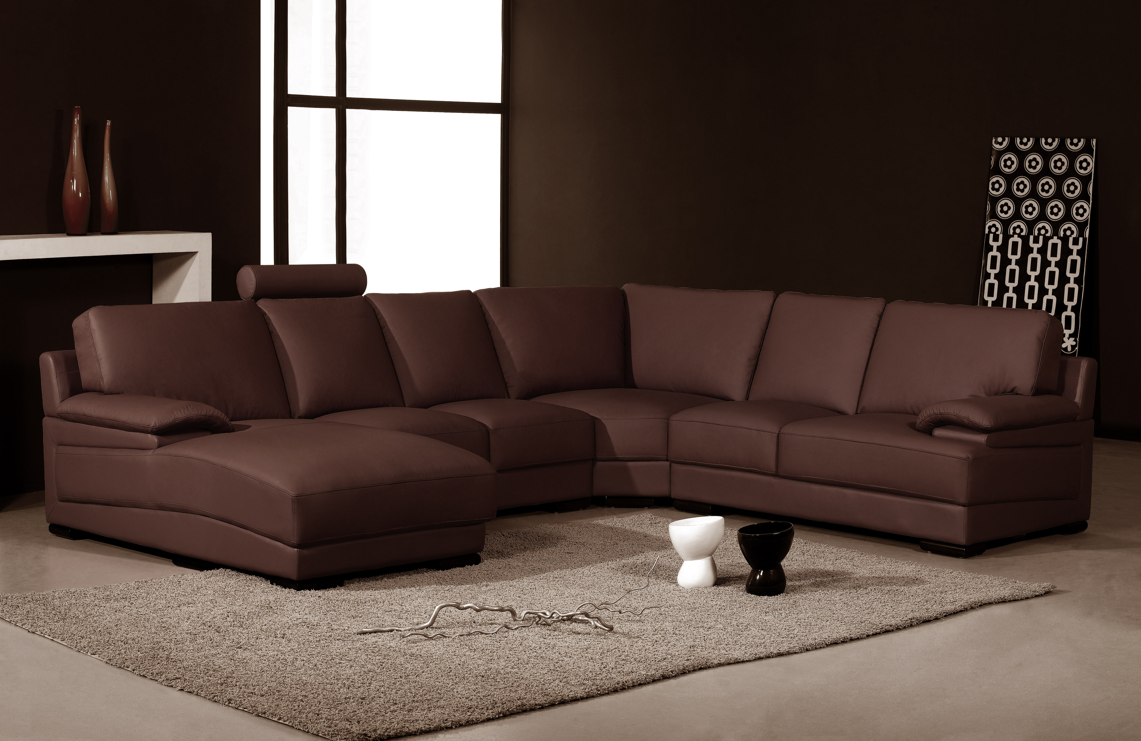 leather couch sectional brown photo - 2