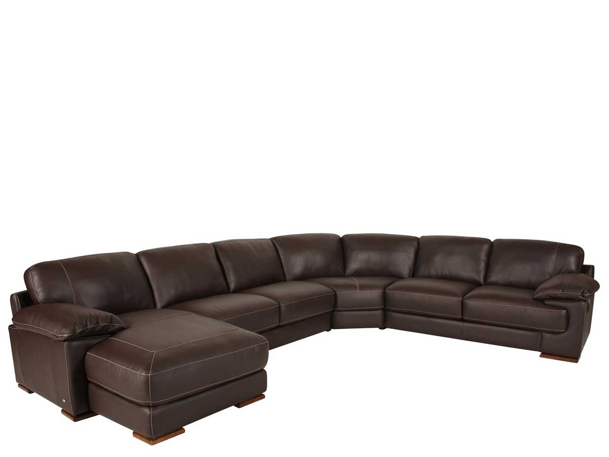leather couch sectional brown photo - 3