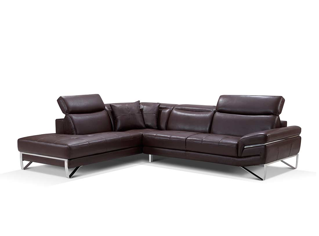 leather couch sectional brown photo - 5
