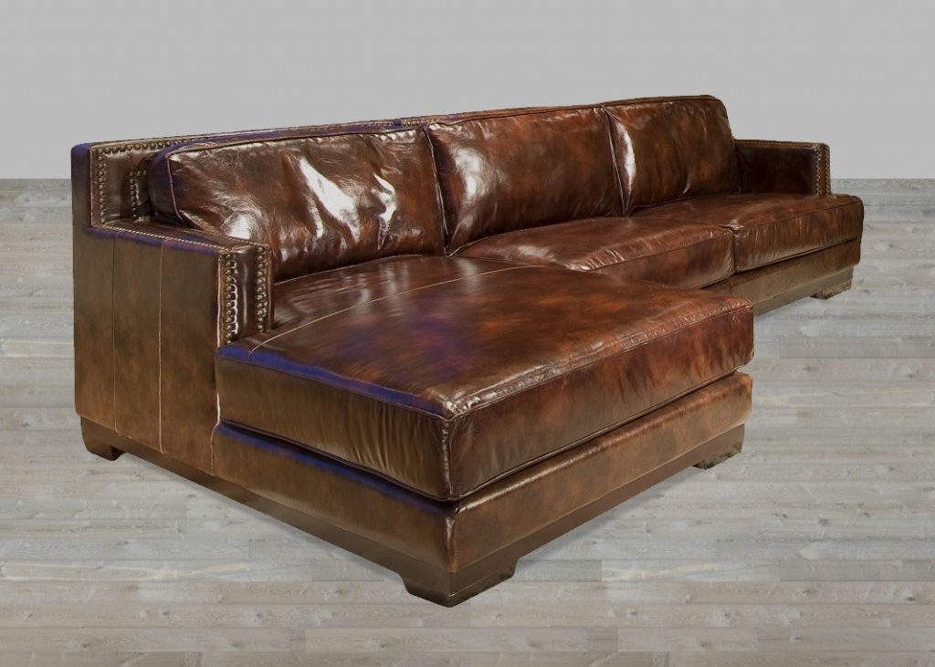 leather couch sectional brown photo - 7