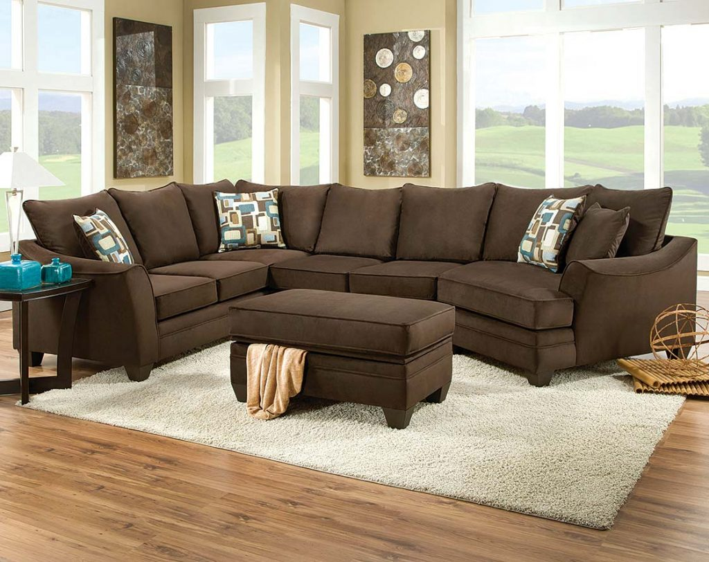 leather couch sectional brown photo - 9