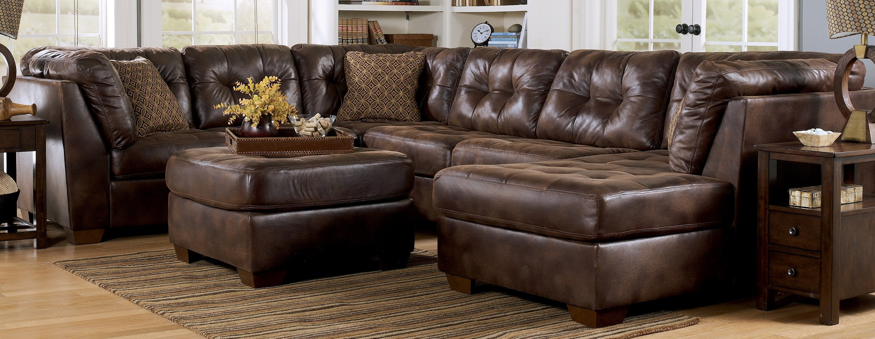 leather sectional sofa brown photo - 10
