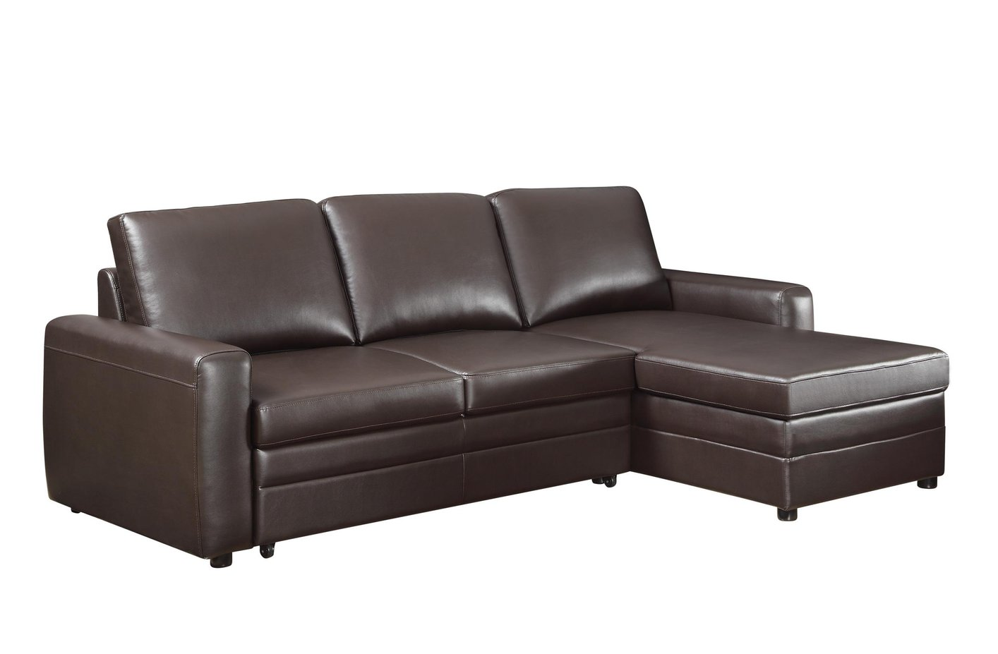 leather sectional sofa brown photo - 2