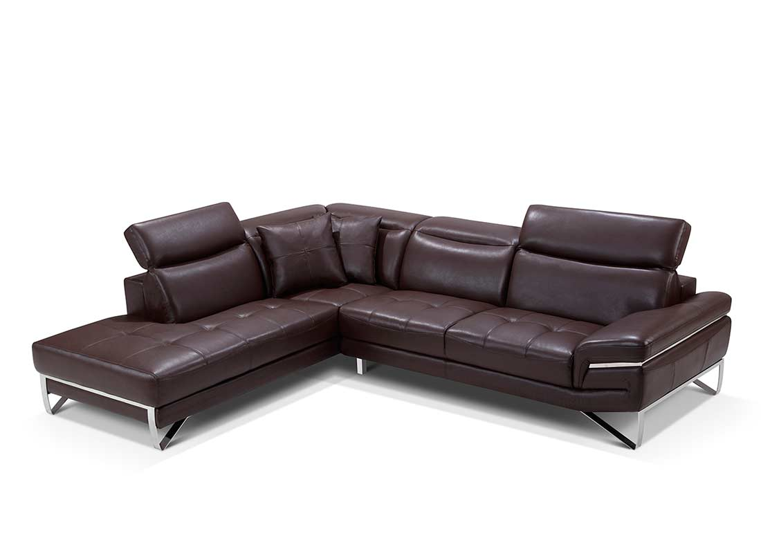 leather sectional sofa brown photo - 4