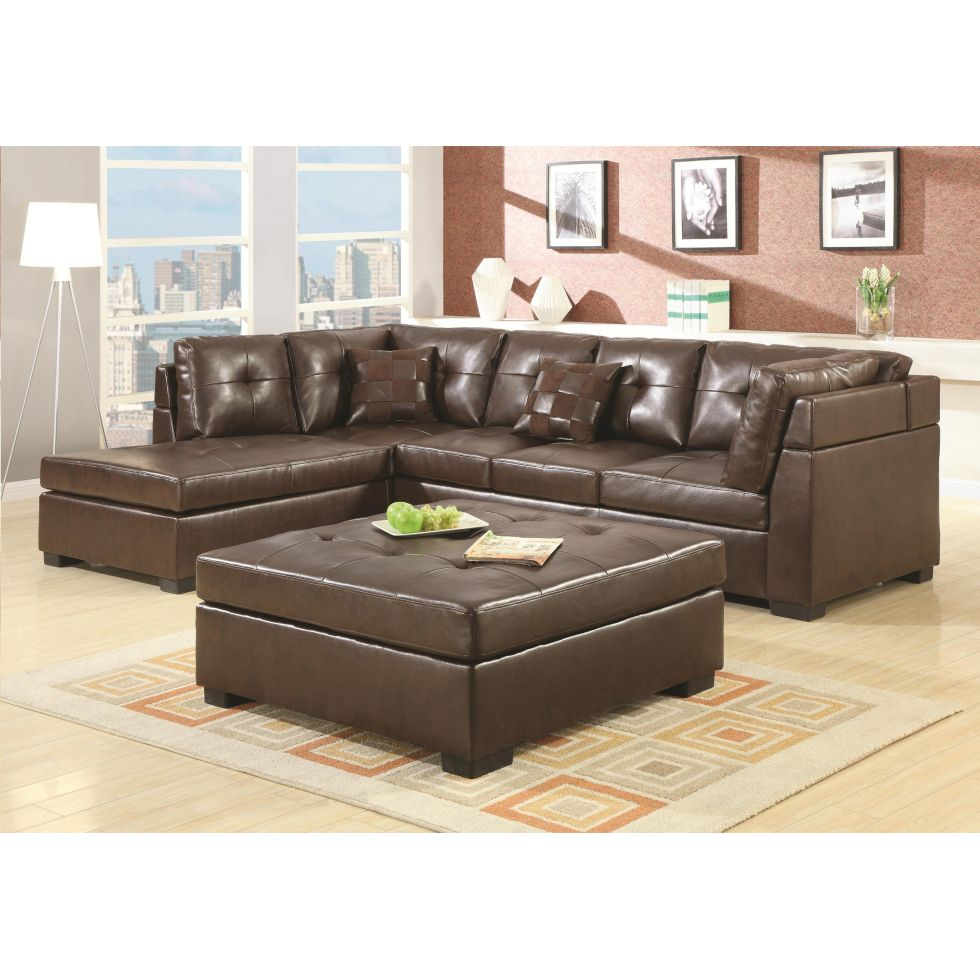 leather sectional sofa brown photo - 5