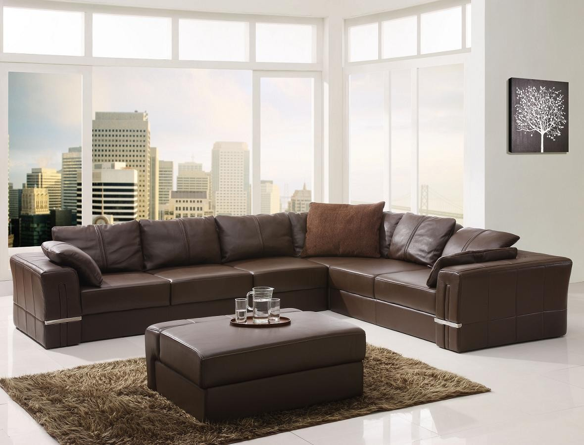 leather sectional sofa brown photo - 7
