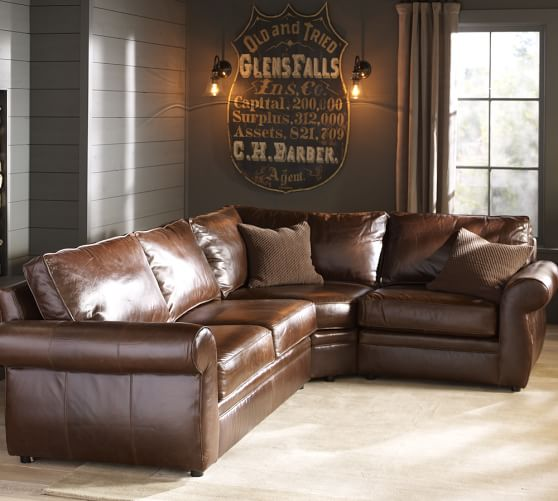 leather sectional sofas pottery barn photo - 2