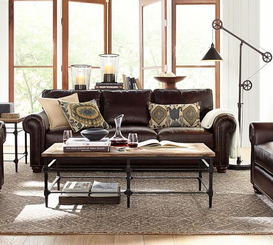 leather sectional sofas pottery barn photo - 4