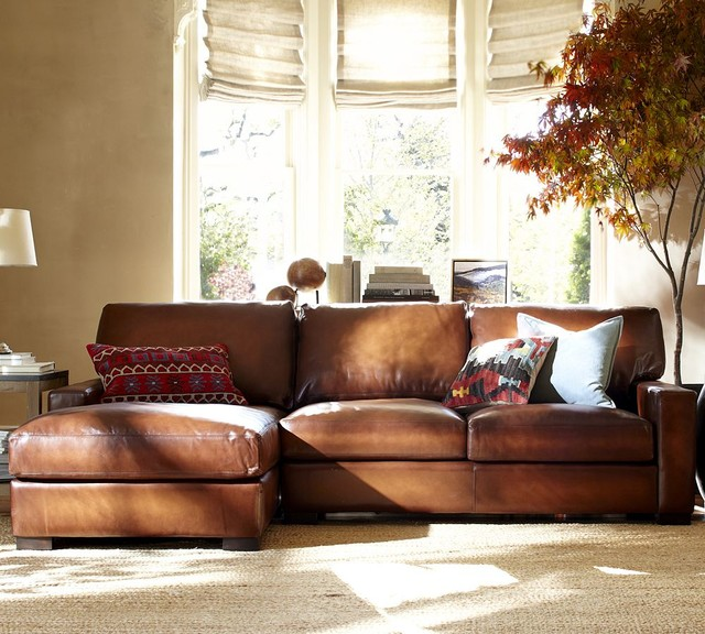 leather sectional sofas pottery barn photo - 6