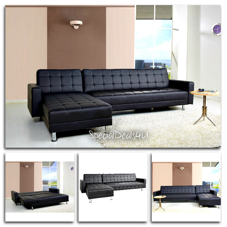 leather sleeper sectional sofa bed photo - 10