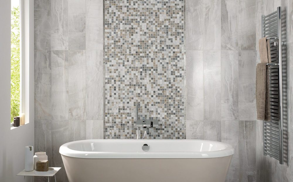 light grey bathroom tiles designs photo - 9