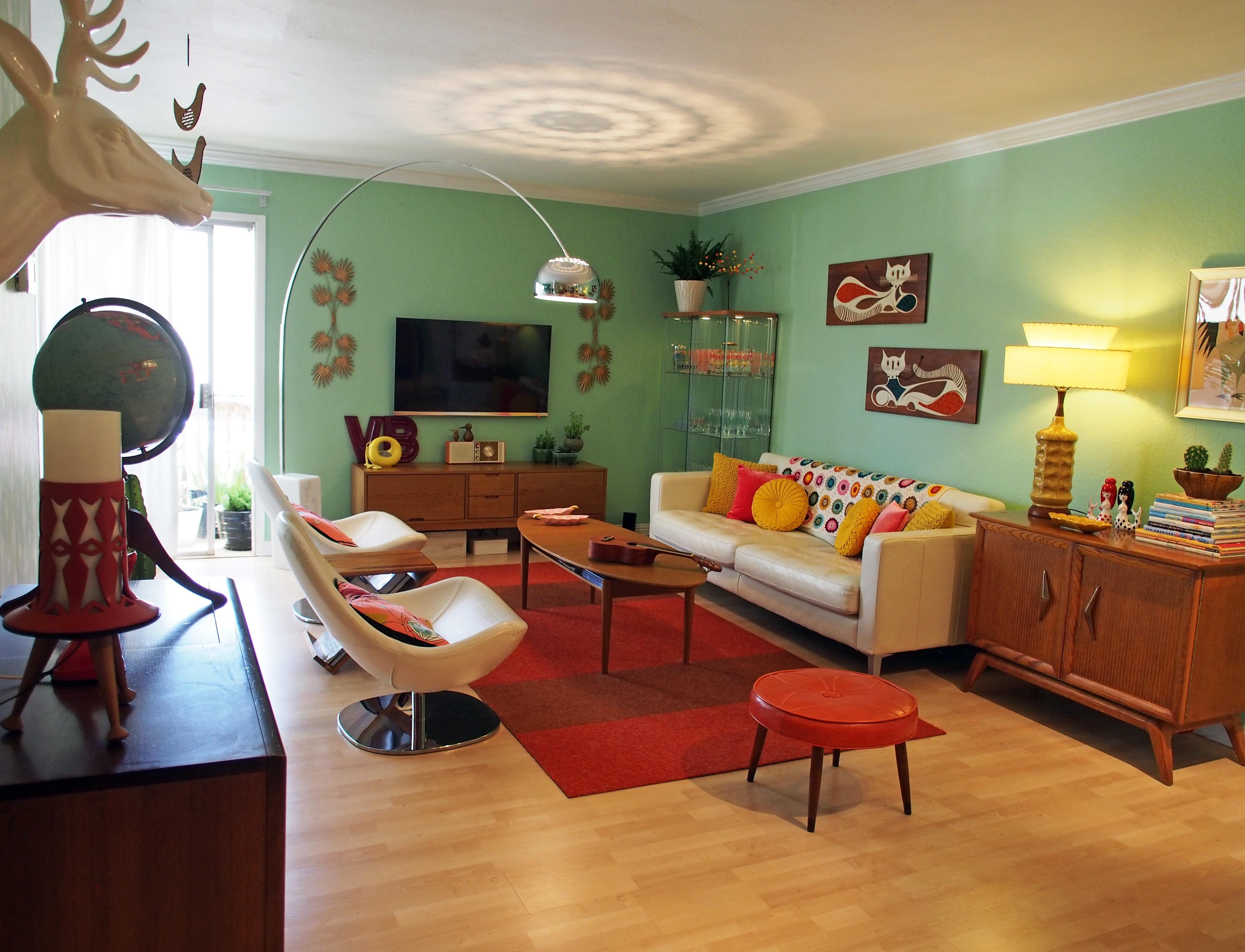 living room design retro photo - 10