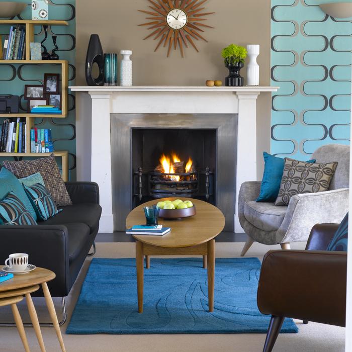 living room design retro photo - 5