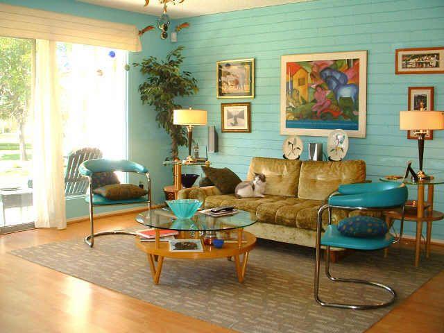 living room design retro photo - 7