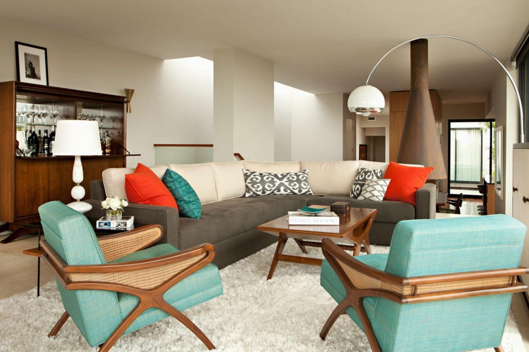 living room design retro photo - 8