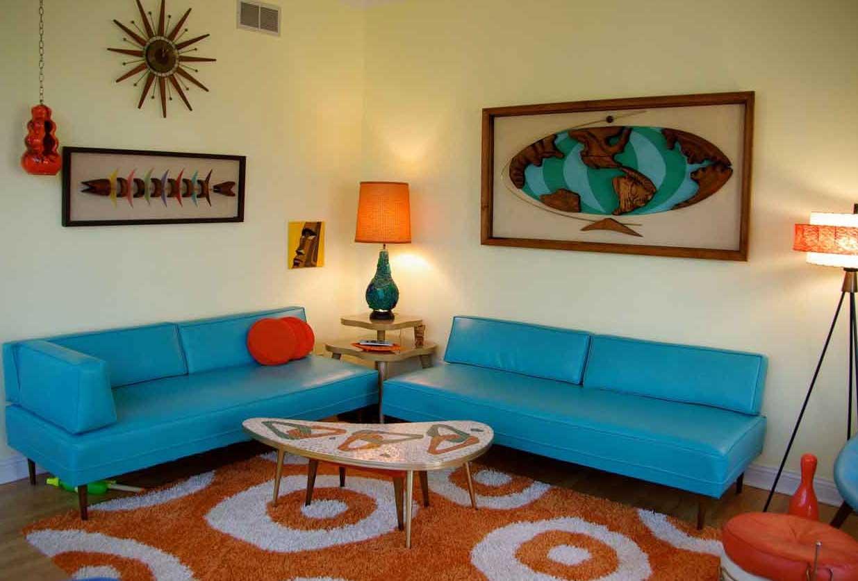 living room design retro photo - 9