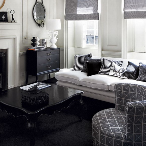 living room designs black and white photo - 1