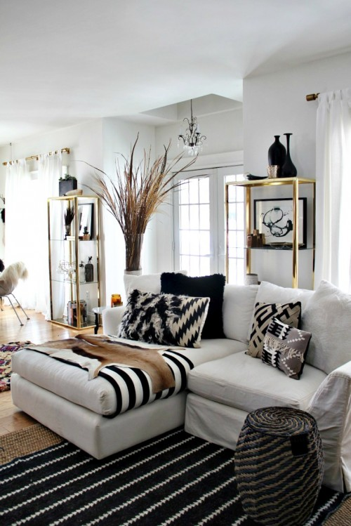 living room designs black and white photo - 10