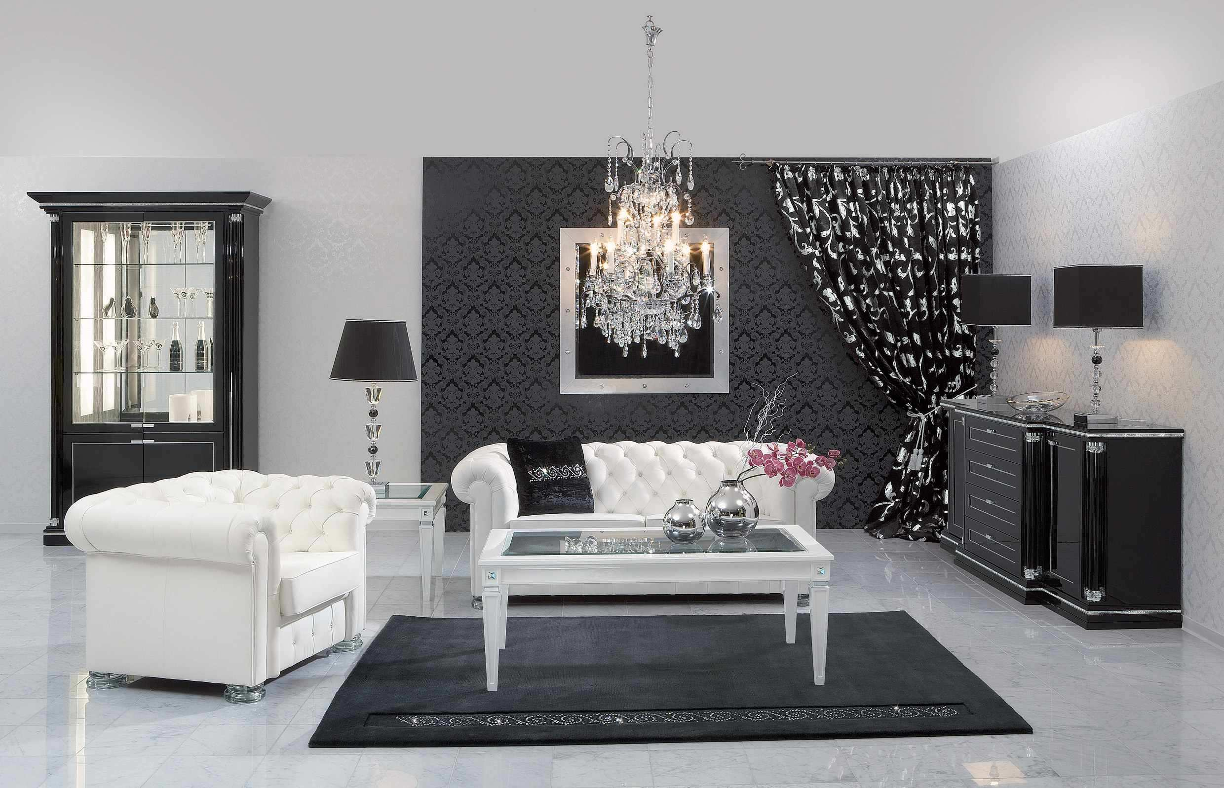 living room designs black and white photo - 2