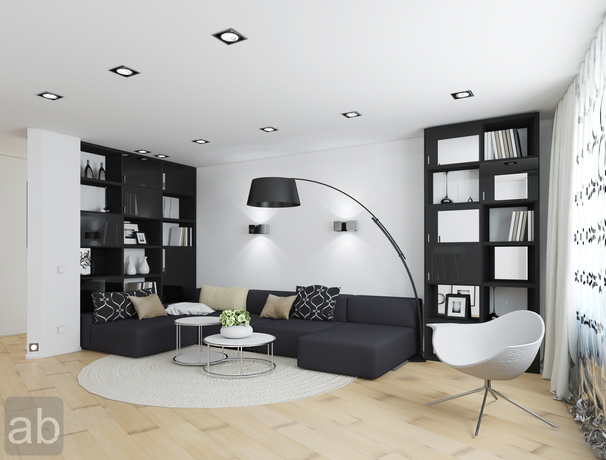 living room designs black and white photo - 3