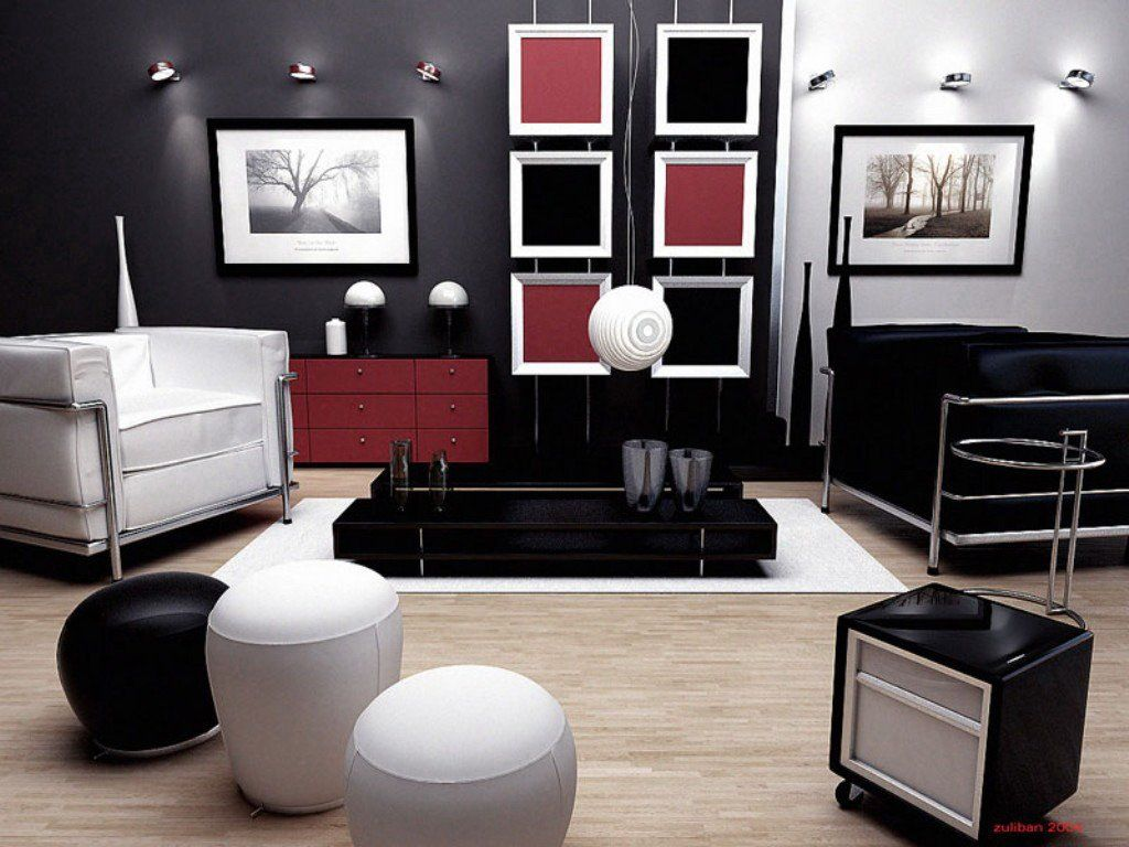 living room designs black and white photo - 5