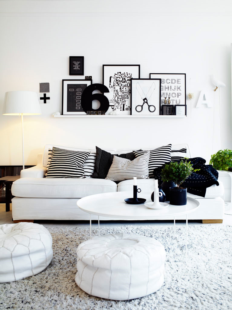 living room designs black and white photo - 6
