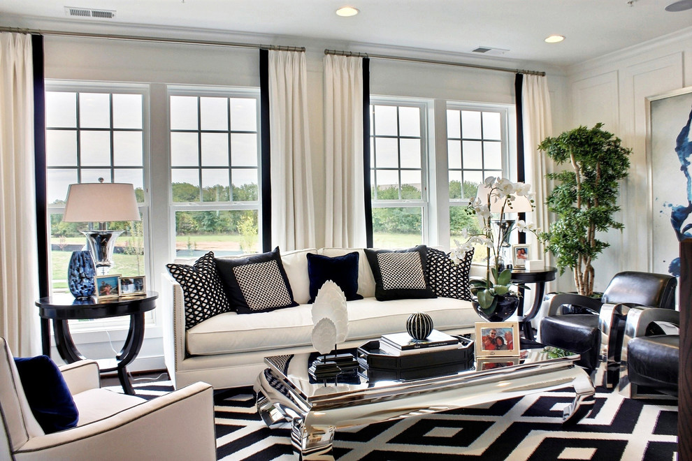 living room designs black and white photo - 7