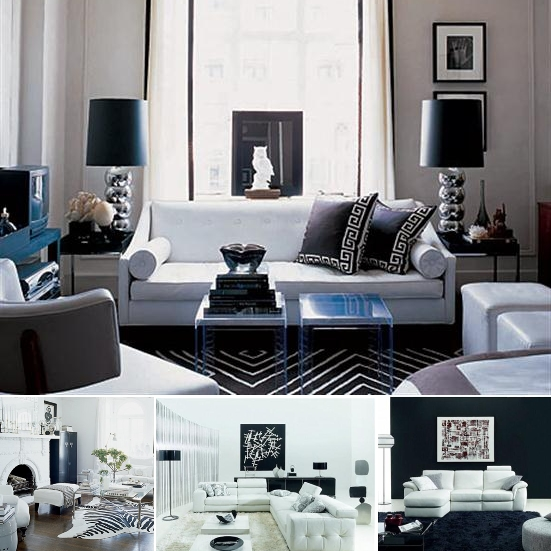 living room designs black and white photo - 8