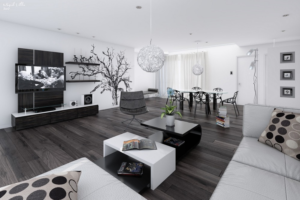 living room designs black and white photo - 9