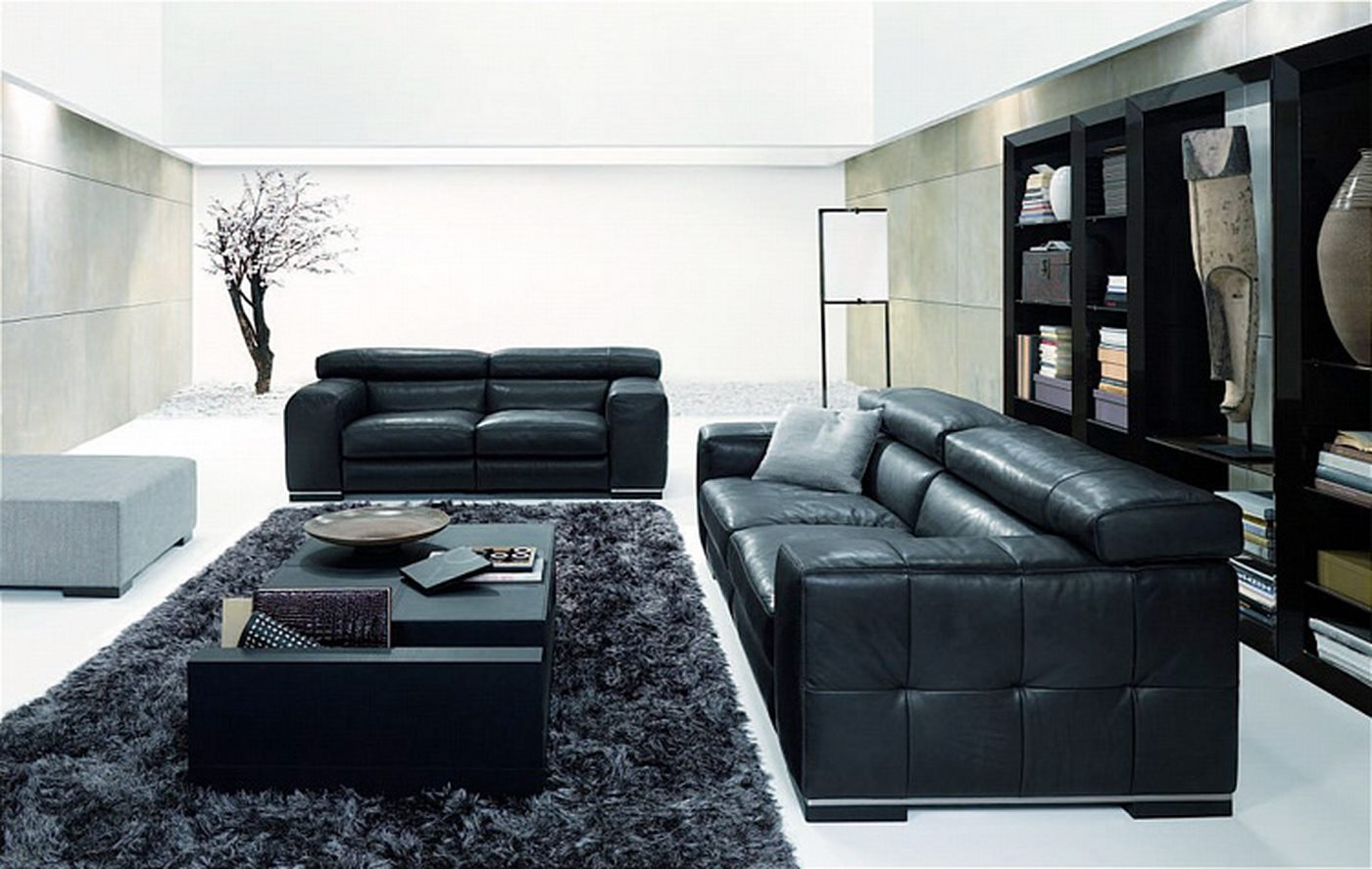 Living Room Designs Black Sofa Photo   2