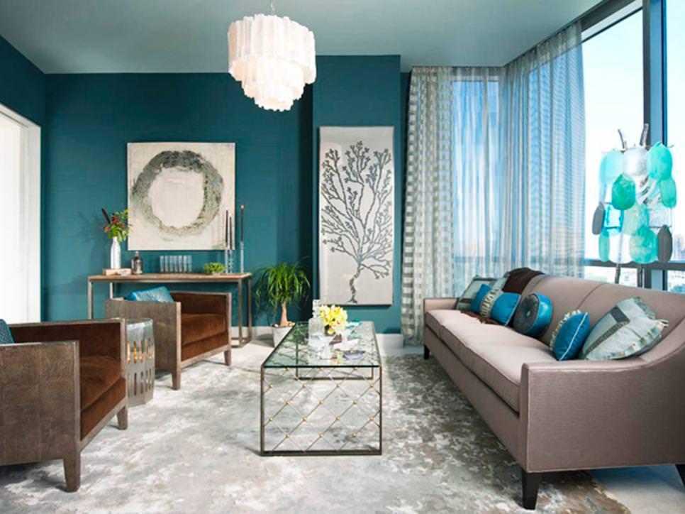 living room designs blue photo - 3