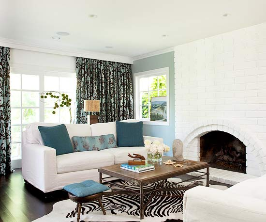 living room designs blue photo - 4