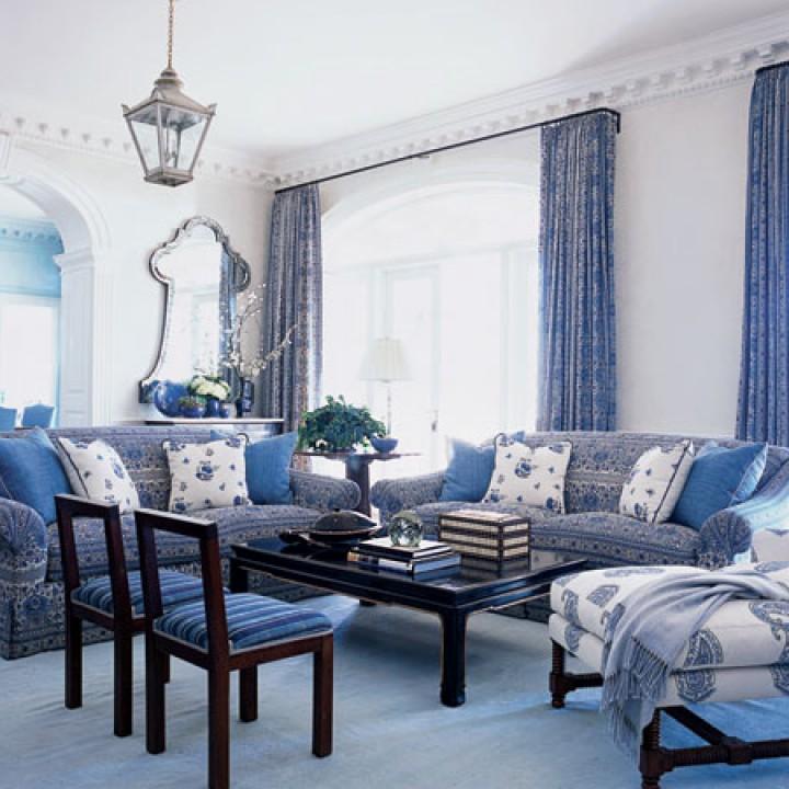 living room designs blue photo - 7