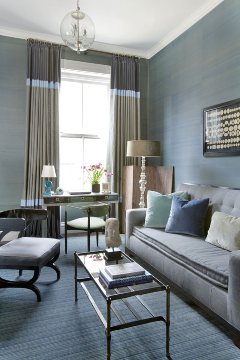 living room designs blue photo - 8