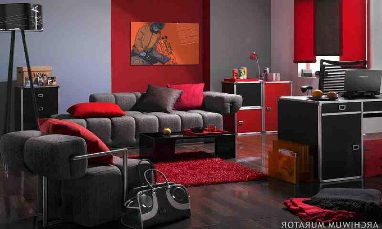 living room designs red and black photo - 10
