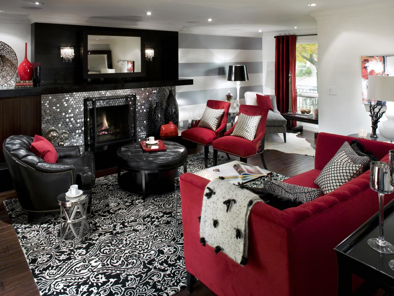 living room designs red and black photo - 2