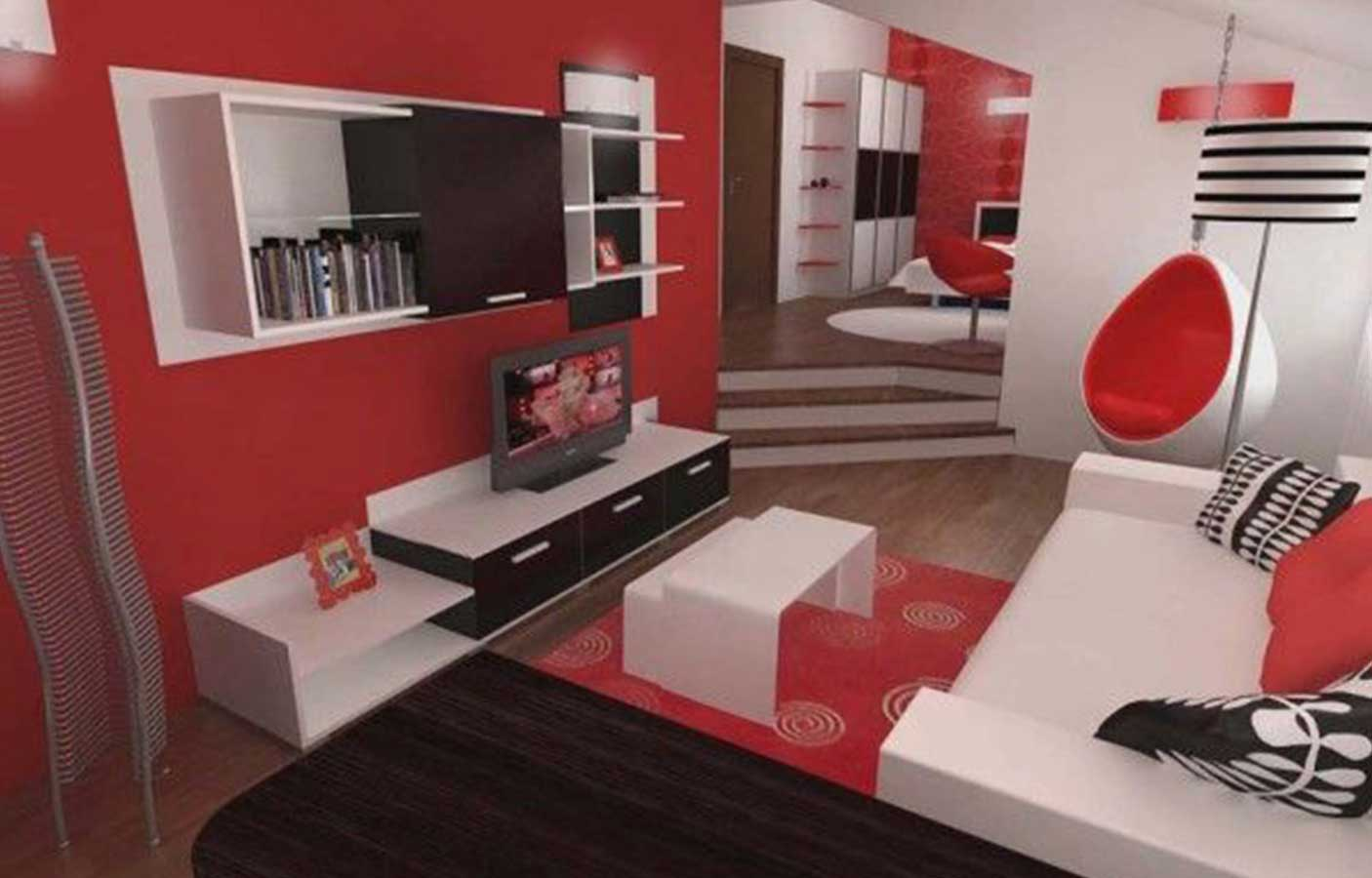 living room designs red and black photo - 5