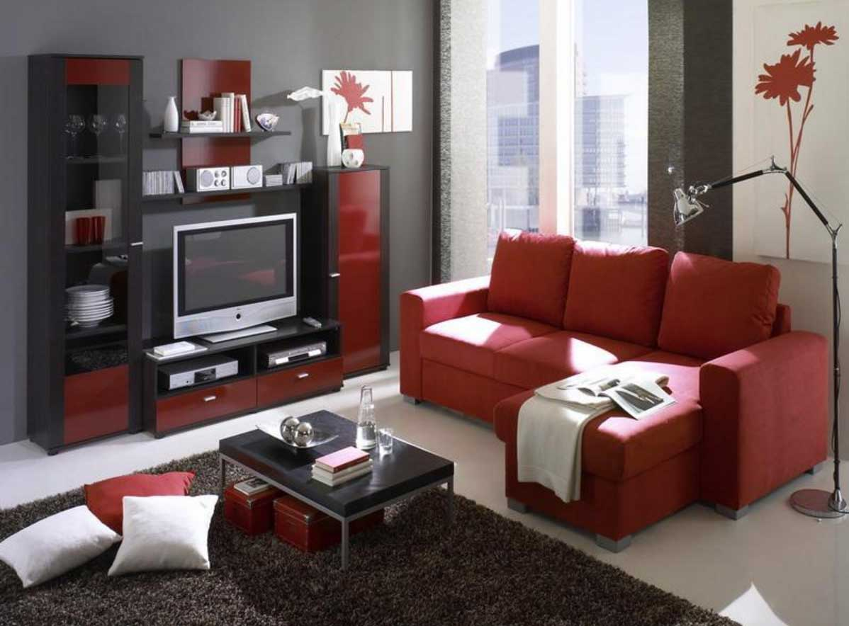 living room designs red and black photo - 7