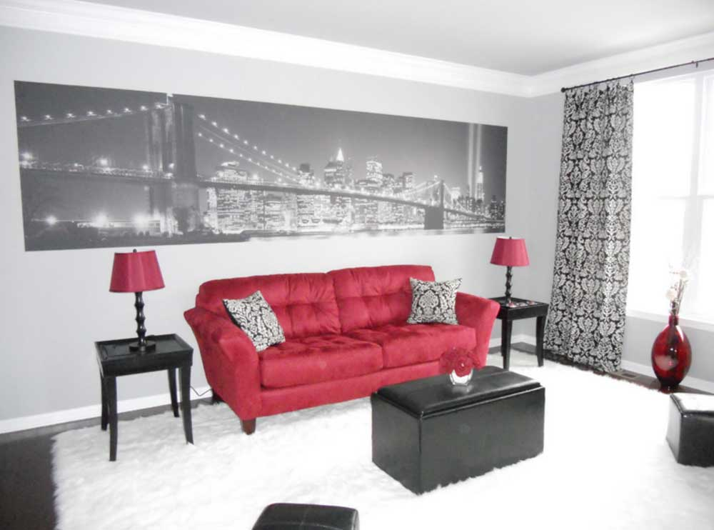 living room designs red and black photo - 8