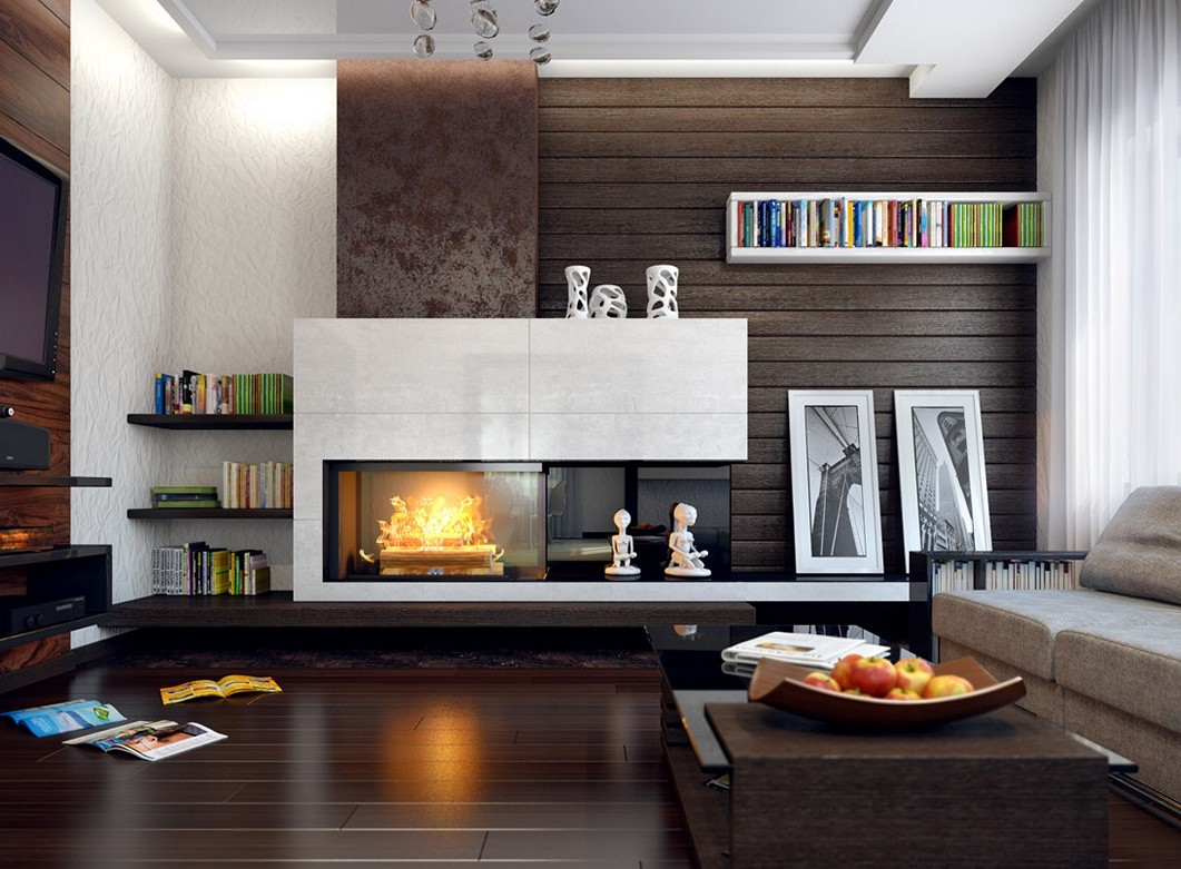 living room designs with fireplace photo - 3