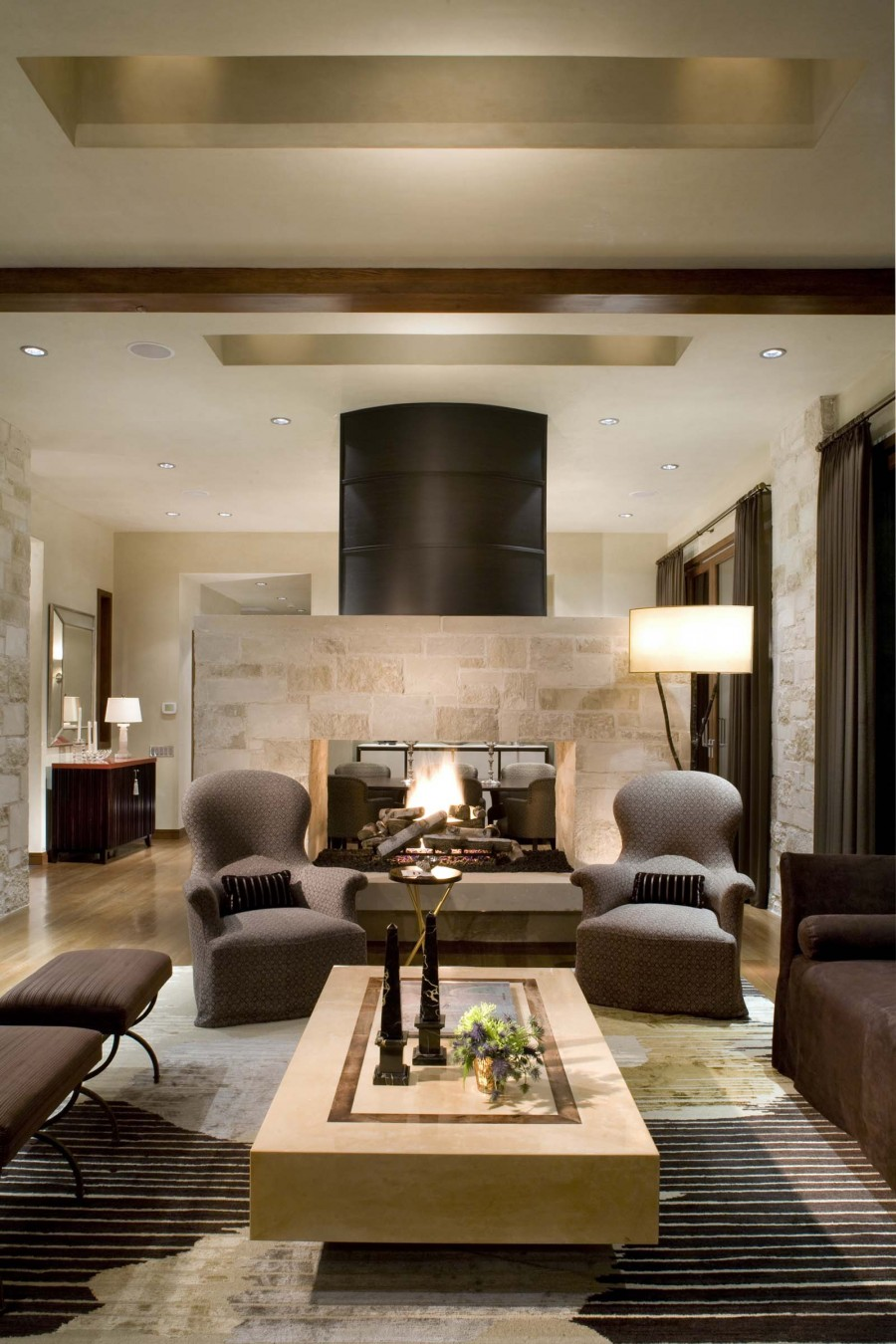 living room designs with fireplace photo - 4